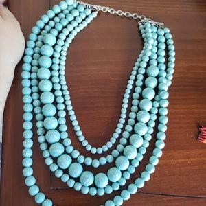 LANE BRYANT turquoise multi strand necklace